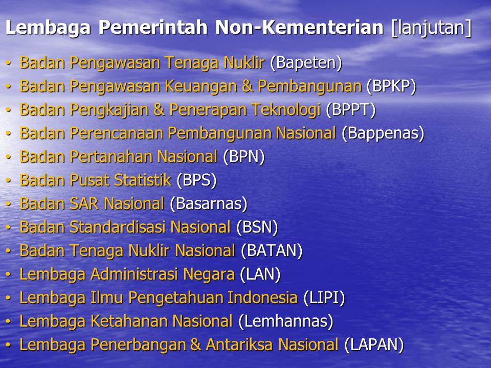 Lembaga Pemerintah Non-Kementerian [lanjutan]